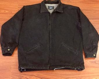90s Vintage Anhor Blue Sherpa Lined Faded Black Jean Jacket XL, Faded Black Denim Jacket, Grunge Jean Jacket, Vintage Black Jean Jacket XL
