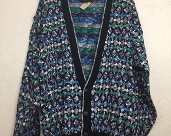 NWT 90s Vintage Plus Size Geometric Pattern Button Up Cardigan Sweater by Expressions International, 80s New Old Stock Grandma Sweater