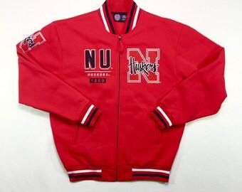 Vintage Nebraska Huskers Red Stitched Varsity Jacket Large, Vintage CornHuskers Zip Up Jacket, Vintage Red & Black Football Varsity Jacket L