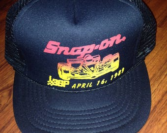 90s Vintage Snap On Racing Snapback Trucker Hat, 90's Race Car Baseball Cap, NHRA Hot Rod Truck Hat, Black Racing Baseball Hat