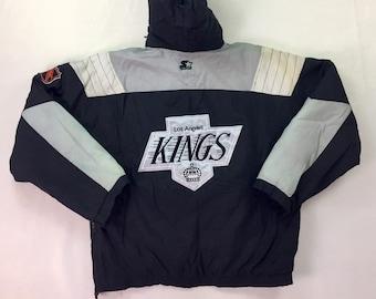 90s Vintage Starter NHL Los Angeles Kings Gretzky Era Puffer Hooded Jacket Large, 90s Starter Pullover Kings Jacket, 90s Starter Kings Parka