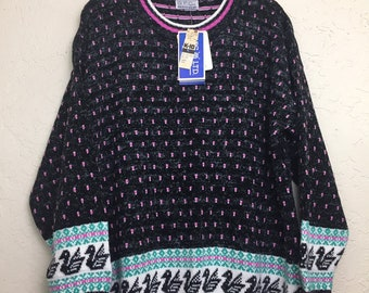 NWT 90s Vintage Plus Size Swan and  Geometric Pattern Pull Over Sweater by GFC LTD, 80s New Old Stock Grandma Sweater