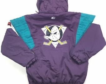 90s Starter Disney Mighty Ducks of Anaheim Puffer Jacket Large, 90 Starter Mighty Ducks Big Logo Jacket, 90s Starter Mighty Ducks Parka Lg