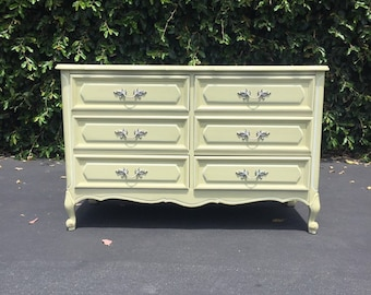 Vintage French Provincial Light Creamy Avocado Green Double Dresser Chest of Drawers by Henry Link, Shabby Chic Dresser Chest of Drawers