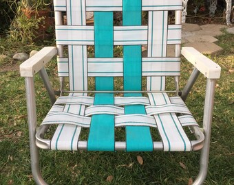 Vintage Teal and White Lawn Chair, Collapsible Outdoor Chair, Foldable Garden Chair, Beach Chair, Sand Chair