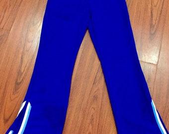 Vintage Authentic Cheerleading Uniform Pants, Vintage Cheerleader Track Pants, Vintage Blue White Cheer Pants, Cheerleader Costume Pants