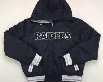90s Vintage Los Angeles Raiders Reversable Puffer Jacket Small, Vintage LA Raiders Double Sided Puffy Jacket, Los Angeles Raiders Jacket S
