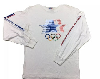 Vintage Levis x 1984 Los Angeles LA Olympics Big Logo Long Sleeve Tee Shirt Lg, Single Stitch Shirt,  1984 Olympics Shirt, LA Olympics Shirt