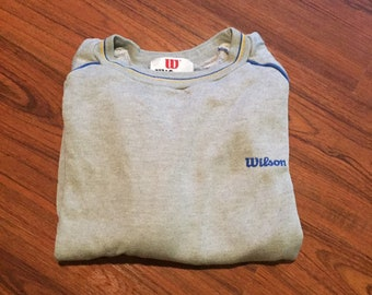 80s Vintage Athletic Preppy Collegiate Wilsons Crewneck Sweatshirt Sweater, 80s Grey, Blue & Yellow Sweatshirt, Vintage Wilson UC Sweatshirt