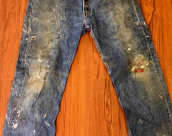 Vintage Paint Splashed Distressed Levis 501 Jeans, Stone Wash Slashed Denim Jeans, Ripped Straight Leg Levis Jeans, Torn Up Button Fly Jeans