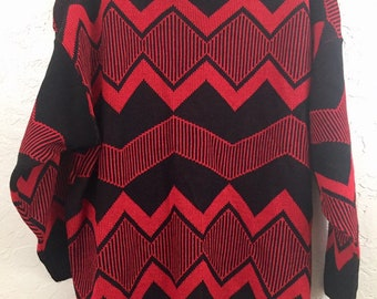 NWOT 90s Vintage Plus Size Red & Black Geometric Patter Oversized Pull Over Sweater by Distinctive Sportswear, 80s Grandma sweater