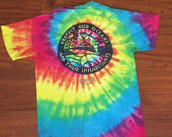 Vintage 90's Tie Dye Beach Surf Protect Our Oceans Shark Shirt Small