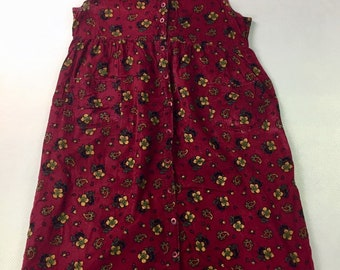 90s Vintage Burgundy Floral Corduroy Sleeveless Dress Xl, Vintage Maroon Corduroy Sleeveless Floral Dress Xl, Floral Corduroy Dress Xl
