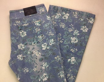 NWOT 90s Vintage Joe Boxer Light Stonewash Denim Blue Rose Pattern Low Rise Bell Bottom Flare Leg Jeans Juniors 13, Flower Print Bell Bottom