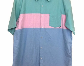 90s Vintage Body Glove Pastel Green, Pink, Blue Short Sleeve Collar Button Down Shirt, Vintage Body Glove Button Up Short Sleeve Shirt