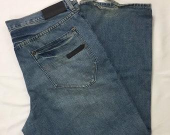 Y2K Vintage Sean John Relaxed Baggy Medium Blue Wash Denim Jeans 38 x 30, Hip Hop Jeans, Vintage Streetwear Jeans, Y2k Vintage Denim Jeans