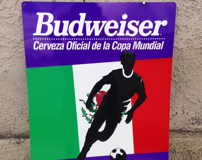 Featured listing image: Vintage World Cup 1994 Mexico Budweiser beer sign, Vintage Beer metal tin Sign, large bar decor, man cave, FIFA Copa Mundial, El Tri Mexico