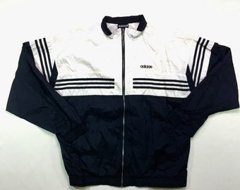 90s Vintage ADIDAS Spellout Logo Windbreaker Tracksuit Jacket Black White XL, Vintage Adidas Windbreaker Jacket Xl, 90s Adidas Track Jacket