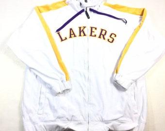 Rare Vintage Reebok Los Angeles LA Lakers White Velour Track Jacket 2XL, Vintage Lakers Velour Jacket 2XL, LA Lakers White Jacket 2XL