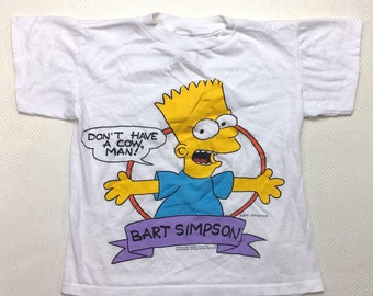 90s Vintage Bart Simpson Don't Have a Cow Man Graphic Tee Shirt Youth Medium, 90s Simpsons Shirt Small, 90s Simpsons Graphic T Shirt Small