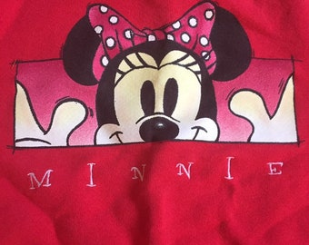 90s Vintage Disney Pull Over Red Minnie Mouse  Sweatshirt, Minnie Kids Sweater, Disney Childrens Sweater