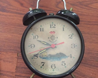 Vintage Helm Brand Wind Up Animated Tic Tok Alarm Clock Alligator Chasing Duck