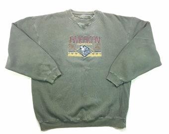 90s Vintage Great Outdoors Khaki Green Crewneck Pullover Sweatshirt XL, Vintage Boho Pullover Sweatshirt XL, Vintage Tribal Sweatshirt XL