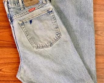 90s Vintage Wrangler High Waisted Straight Leg Jeans 34, 90s Mom Jeans, Vintage Light Wash Denim, 90s High Waisted Jeans 14, Mom Jeans 12