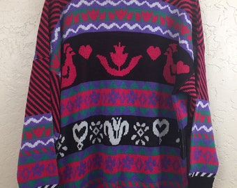NWT 90s Vintage Black Pink Purple Teal Flowers and Chickens Pattern Pull Over Sweater by Custom Design, 80s NWT Bright Color Grandma Sweater