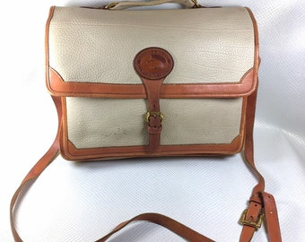 90s Vintage Dooney & Bourke All Weather Leather Bone British Tan Briefcase Shoulder Crossbody Bag, Dooney and Bourke Satchel, Dooney Bag