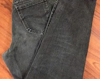 90s Vintage Lee Denim Jeans, 90s Faded black Lee Jeans, 90s High Waisted Mom Jeans, 90s Hip Hop Fashion, 90s Grunge