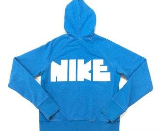 RARE 70s Vintage NIKE Spell Out Block Logo Full Zip Up Hoodie Sweatshirt Medium, Nike Orange Swoosh Tag, 80s Vintage Nike Hoodie, Pinwheel