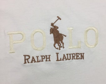 90s Vintage POLO by Ralph Lauren Big Logo White Stitched on Tee Shirt XL, 90s Polo T Shirt, Vintage Ralph Lauren T-shirt, Vintage Polo Shirt
