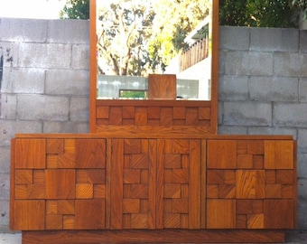 """The """"Staccato"""" Vintage Triple Dresser Chest of Drawers Credenza with Matching Mirror by Lane of Altavista in the manner of Paul Evans 1974"""