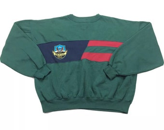90s Vintage GUESS Big Logo Color Block Crewneck Pullover Forrest Green Sweatshirt L, Vintage Streetwear, 90s Guess Crewneck, 90s Sweatshirt