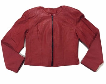 80s Vintage CHIA Cropped Red Leather Motorcycle Jacket with Shoulder Pads and Big Black Zipper Med, Vintage Leather Jacket, Red Moto Jacket