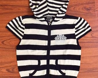 Early 2000s Vintage BEBE Black & White Striped Short Sleeve Hooded Zip Up Top Shirt, Y2K Vintage, Bebe Top, Vintage Bebe, Bebe Shirt Medium