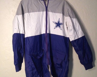 90s Vintage Dallas Cowboys Oversized Rain Coat Jacket, Vintage Streetwear, Vintage Mens jacket, Dallas Cowboys NFL Game Day Jacket XL