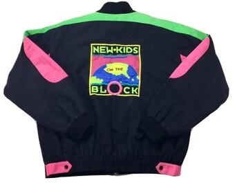 RARE Vintage New Kids On The Block NKOTB NEON Pink Green Black Bomber Jacket, New Kids On the Block Jacket, New Kids Jacket, Nkotb Jacket