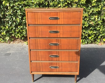 Mid Century Modern High Boy Dresser, MCM Tall Chest of Drawers, Mid Century Danish Modern Dark Walnut Dresser, Mid Century Dresser