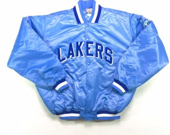 Rare Vintage Los Angeles LA Lakers NBA Majestic Hardwood Classics Throwback Satin Jacket XL, Vintage La Lakers Blue Satin Jacket Xl