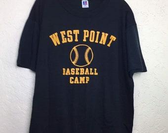 Rare 90s Vintage West Point Baseball Camp Graphic Tee Shirt, West Point Shirt, West Point Tee Shirt, Distressed 90s Vintage Baseball Shirt