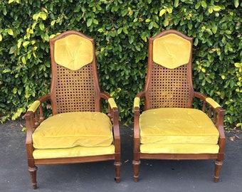 SOLD Set of 2 Vintage Bohemian Velvet Upholstered Arm Chairs, Boho Chic High Back Accent Chairs, Pair of Wicker Bride Groom Thrones