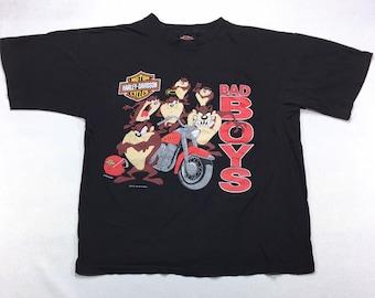 1993 Vintage Harley Davidson X Warner Bros Tazmanian Devil Bad Boys Graphic T Shirt XL, 90s Vintage Harley Taz Tee Shirt XL, Vintage Harley