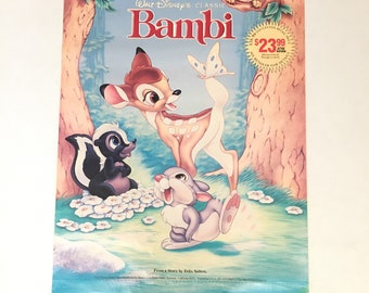 Vintage 1980's Disney Bambi on Video movie promotional poster