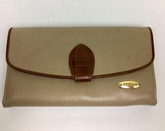 Vintage Liz Clairborne Wallet, 90s Vintage Wallet, Vintage Leather Wallet, Vintage Leather Wallet Womens, Vintage Beige Wallet, Checkbook