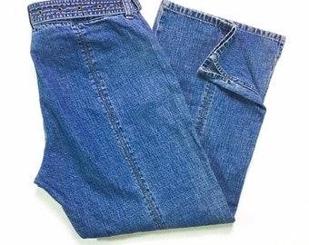 90s Vintage DKNY Jeans Belted Low Rise Pocketless Back Flare Leg Slit Side Hem 14, Y2k Vintage Donna Karen New York Low Rise Bootcut Jeans