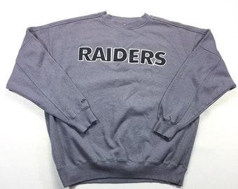 Vintage Majestic Raiders Grey Black Color Block Crewneck Sweatshirt XL, LA Raiders Pullover Sweatshirt XL, Oakland Raiders Fleece Sweater Xl