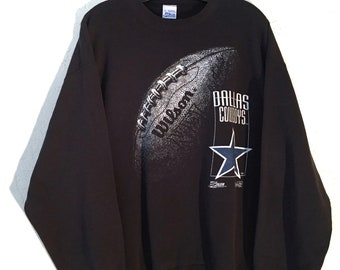90s Vintage NFL Dallas Cowboys Big Logo Black, White and Blue Pullover Crewneck Sweatshirt Extra Large XL, Vintage Cowboys Gear, Vintage NFL