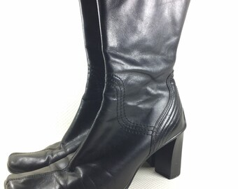 90s Vintage ALDO Square Toe Square Chunky Heel Black Leather Aldo Boots 8, Womens Black Leather Ankle Boots 38, Square Toe Stack Heel Boots